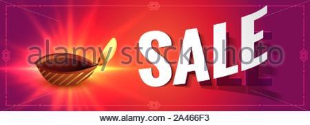 Diwali rougeoyant vente bannière colorée avec diya design Banque D'Images