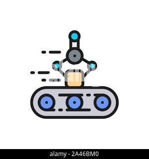 Convoyeur à bande avec bras mécanique, robotique emballage à plat sur l'icône de la ligne de couleur. Banque D'Images