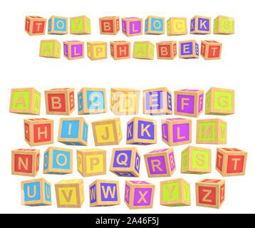 Le rendu 3D d'un alphabet coloré avec un jouet d'écriture Alphabet blocs au-dessus de toutes les lettres. L'enseignement primaire. L'école maternelle. L'apprentissage préscolaire. Banque D'Images