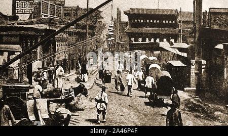 Un vieux magazine illustration montrant une scène de rue à Pékin (Beijing) en 1900 ou plus tôt - noter l'absence de circulation des véhicules à moteur Banque D'Images