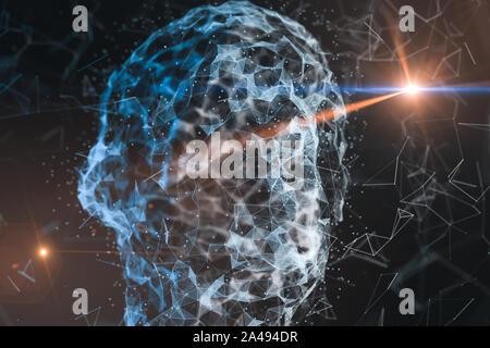 Tête humaine composée de lignes technologiques avec le concept de l'intelligence artificielle, rendu 3D. Banque D'Images
