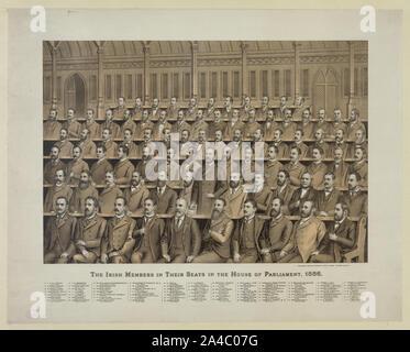Les membres irlandais dans leurs sièges à la Chambre des députés, 1886