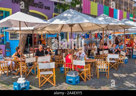 Café / bar sur Magallanes, El Caminito, la Boca, Buenos Aires, Argentine Banque D'Images