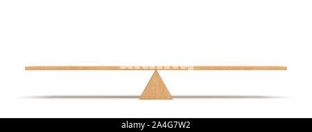 Le rendu 3D d'une planche en bois en équilibre sur un triangle en bois isolé sur fond blanc. Balançoire et balançoire à bascule. L'équilibre. L'équilibre entre la vie.