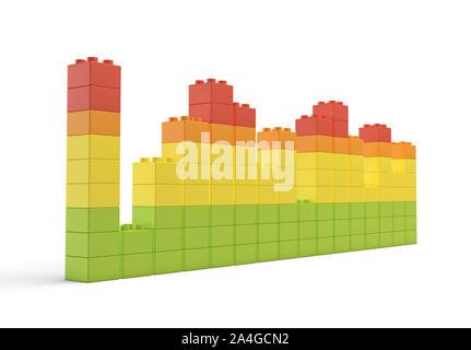 Le rendu 3D de toy bricks multicolores formant des tours inégales ou graphiques sur fond blanc. Banque D'Images