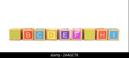 Le rendu 3D de plusieurs briques jouet en bois avec lettres par ordre alphabétique sur un fond blanc. Banque D'Images