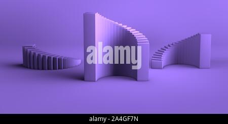 Résumé fond minimal rendu 3d forme géométrique abstraite mauve-violet set de groupe Banque D'Images