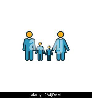 Icône de famille ensemble. Quatre éléments dans diférents styles à partir d'icônes de la communauté collection. Famille créative rempli d'icônes de couleur, contours, symboles et télévision Banque D'Images