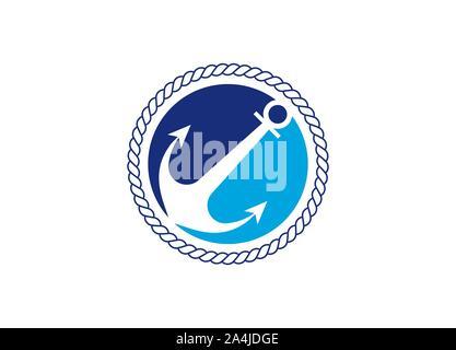 Modèle de conception de logo d'ancrage pour l'icône vecteur Shipping Company Banque D'Images