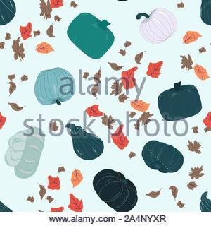 Modèle sans couture avec récolte d'automne, bleu vert les citrouilles et les feuilles d'automne. Délicieux et uniques variétés de courges d'hiver répéter design. Vector Illu Banque D'Images