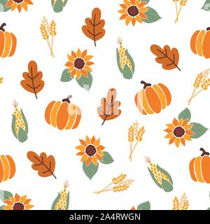 Modèle vectoriel continu avec orange citrouille, maïs, la récolte des feuilles d'érable et lumineux tournesols sur fond blanc. L'automne, l'automne, la récolte. Pour Banque D'Images