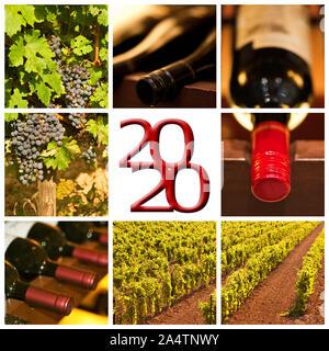 Vin rouge 2020 photos carrées collage carte de souhaits Banque D'Images