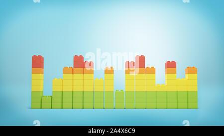 Le rendu 3D de toy bricks multicolores formant des tours inégales ou graphiques sur fond bleu. Banque D'Images