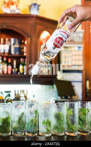 Close up of male bartender pouring le rhum Havana Club en verres à mojito bar cocktail cubain historique Banque D'Images