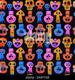 Le Jour des morts crâne motif transparent, drôle de squelette aquarelle smileys, icône de la culture mexicaine en couleur arrière-plan. Banque D'Images