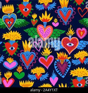 Sacré coeur motif transparent coloré, Hearts on Fire religieux. Télévision cartoon style arrière-plan pour la Saint-Valentin, fête des morts ou religio traditionnelle Banque D'Images