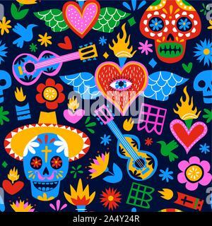 Le Jour des morts avec motif transparent des idoles de la culture traditionnelle au Mexique en télévision cartoon style coloré. Maison de vacances mexicaines pour l'arrière-plan d'événements festifs. Banque D'Images