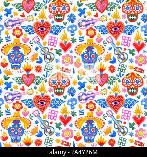 Le Jour des morts avec motif transparent des idoles de la culture traditionnelle au Mexique dans l'aquarelle colorée. Maison de vacances mexicaines pour l'arrière-plan d'événements festifs. Banque D'Images
