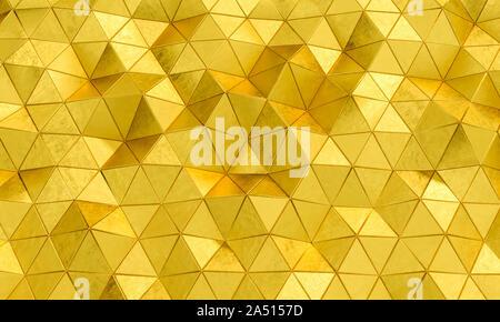 Motif géométrique avec des formes triangulaires en métal de couleur or. Image 3D render