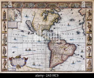 Carte de l'Amérique par le cartographe John Speed publié vers 1627. La cartouche, en bas à gauche, se lit comme suit: l'Amérique avec ceux connus les articles dans cette unknowne worlde les gens et constructions. La Californie est représentée comme une île.