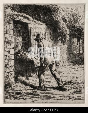 De retour de la paysanne de tas de fumier, 1855-1856. Millet déplacé de Paris pour le village voisin de Barbizon en 1849 à la recherche d'objet. rustique Le groupe de peintres travaillant dans la campagne environnante de la forêt de Fontainebleau peint fréquemment à l'extérieur afin de créer une vue précise et douce de la nature. Bien que la plupart des artistes de Barbizon principalement axé sur le paysage, le Mil a également représenté des paysans. Ses oeuvres célèbrent la noblesse et la dignité des personnes qui vivent à proximité du sol, symboles de la stabilité et continuité manque dans la vie moderne Banque D'Images