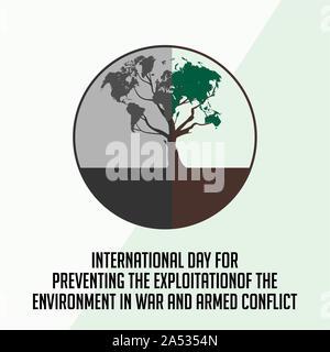 Journée internationale pour la prévention de l'exploitation de l'environnement en temps de guerre et de conflit armé avec la moitié de l'arbre brûlé Banque D'Images