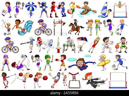 Activités sportives par les garçons, les filles, pour les enfants, les athlètes illustration isolé Banque D'Images
