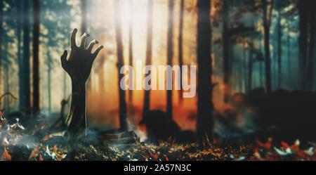 Concept d'Halloween, zombie part sortant du sol. Le rendu 3D Banque D'Images