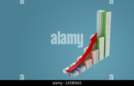Business graph fait à partir de l'introduction des billets Banque D'Images