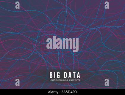 Big La visualisation de données. L'algorithme d'apprentissage automatique et de concept. Résumé Arrière-plan technique. La composition de la musique des vagues. Vector Banque D'Images