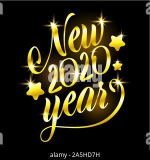 Signe d'or Bonne et Heureuse Année 2020 Maison de vacances illustration vectorielle. La composition avec lettrage or brillant Sparkles Banque D'Images