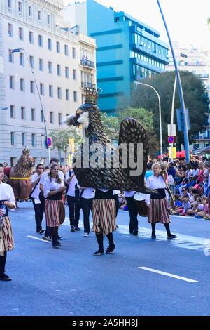 Festival de la Mercè. Danse de l'aigle. Barcelone, Catalogne, Espagne.