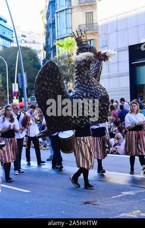 Festival de la Mercè. Danse de l'aigle. Barcelone, Catalogne, Espagne. Banque D'Images