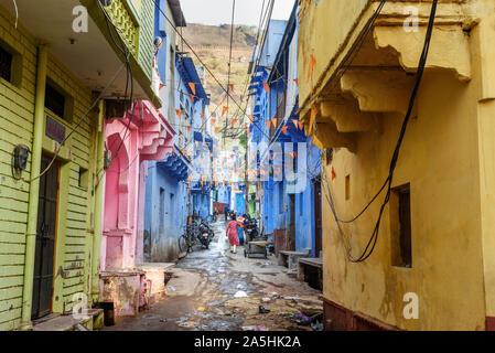Bundi, Inde - 19 Février 2019: dans la rue, dans la vieille ville de Bundi. Le Rajasthan. L'Inde