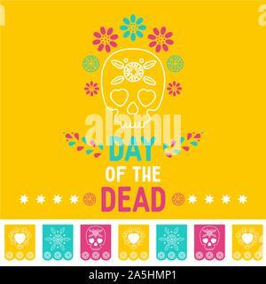 Fête des morts, Dia de los muertos fond jaune, bannière carrée, carte de vœux. Vector illustration avec crâne en sucre ou calavera, fleurs Banque D'Images