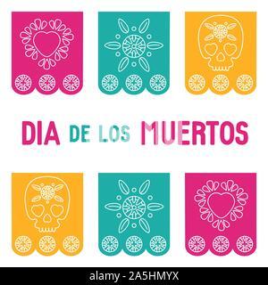 Fête des morts, Dia de los muertos, fond bannière carrée, carte de souhaits avec mexican bunting, crâne en sucre ou calavera, fleurs et texte. Banque D'Images