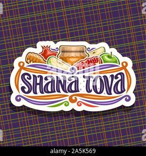 Logo Vector pour juive de Rosh Hashanah, coupe du papier signe avec l'automne le miel en pot, bâton en bois, Cuisine kasher - pomme verte et en santé La Grenade Banque D'Images