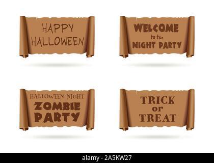 Collection de bannières d'Halloween. Inscriptions Halloween situé sur un ancien parchemin. Happy Halloween. Bienvenue à la soirée de l'Halloween Zombie Party. Trick Banque D'Images