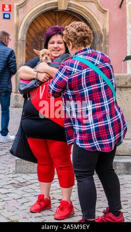Femme avec chien parlant à un ami, en arrière-plan, Prague, République Tchèque Banque D'Images