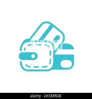 Cartes bancaires portefeuille de l'entreprise Financement de l'illustration vectorielle silhouette couleur Banque D'Images