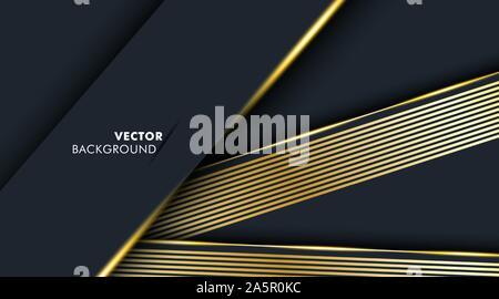 Fond bleu foncé qui chevauche une ligne d'or. Vector illustration en EPS 10 Banque D'Images