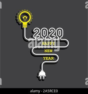 Illustration du message d'accueil pour l'année 2020 nouveau stock vector Banque D'Images