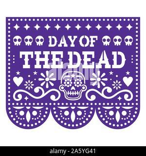 Le Jour des Morts papel picado design avec des crânes de sucre mexicain, découper le papier de fond de fleurs et guirlande de crânes Banque D'Images