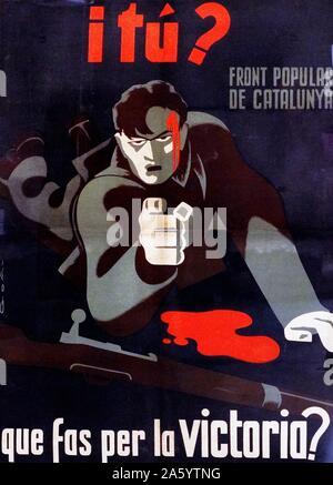 Guerre civile espagnole, républicain poster par Lorenzo Goni 1936. Que faites-vous pour la victoire? Banque D'Images