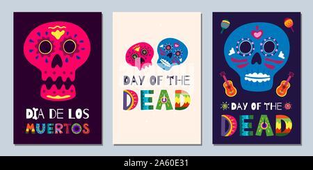 Banderoles de la fête mexicaine des morts Dia de Los Muertos. Cartes de vœux du festival national avec squelette, lettres de fleurs dessinées à la main, crânes sur fond sombre et clair. Jeu d'affiches d'illustration vectorielle Banque D'Images