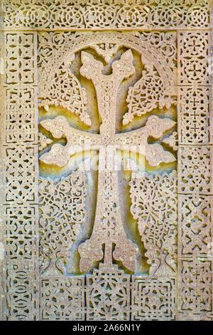 Khachar à Sanahin Monastère, UNESCO World Heritage Site, Alaverdi, Lori Province, l'Arménie Banque D'Images