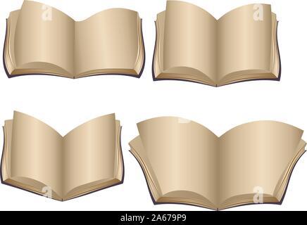 Ensemble de vieux livres ouverts avec des pages blanches. Banque D'Images