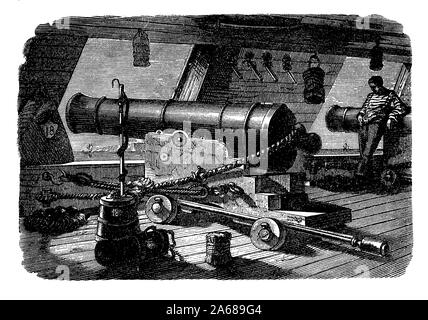 Type Artillerie à bord d'un bateau à l'homme de guerre des guerres napoléoniennes, au début du xixe siècle. Hommes de guerre étaient des soldats lourdement armés avec le cuirassé canons à feu obligeant les ponts pour les tenir