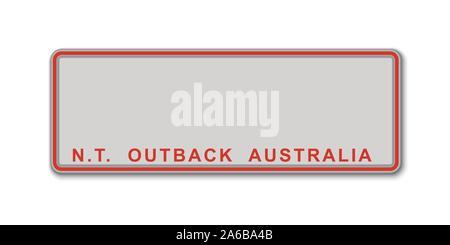 La plaque de numéro de voiture. Licence d'immatriculation des véhicules de l'État du Territoire du Nord de l'Australie Banque D'Images