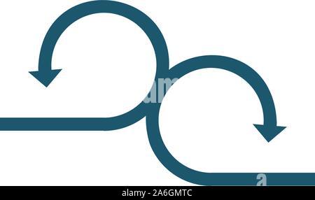 Cercle connecté deux flèches opposées. Stock Vector illustration isolé sur fond blanc. Banque D'Images